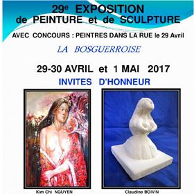 EXPOSITION DE PEINTURE ET SCULPTURE à BOSGOUET 29, 30 avril et 1er mai2017